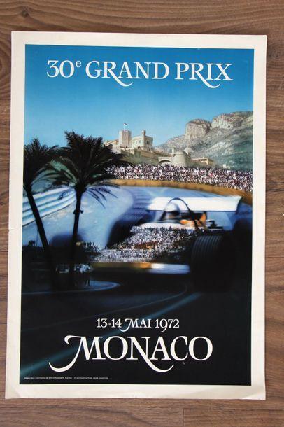 GRAND PRIX DE MONACO 1972 Affiche originale Imp Drager, Paris D'après une photo...