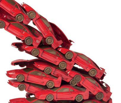 ARMAN Rampante 1999 Accumulation (Ferrari F40 en bronze peint en rouge & or), signée,...