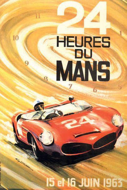 24 HEURES DU MANS 1963 Affiche originale D'après un dessin de G. Leygnac Imp. Thivillier...