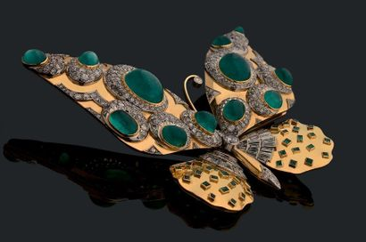 "SUZANNE BELPERRON Grande broche ""papillon"" articulée en or jaune 18k (750) et platine..."