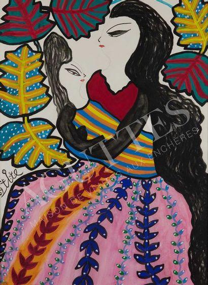 MAHIEDDINE BAYA (1931-1998) Mère à l'enfant, 1969 Gouache sur papier, signée et datée...