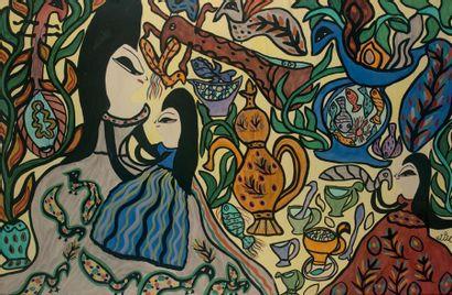 MAHIEDDINE BAYA (1931-1998) Mère et enfants, 1969 Gouache et aquarelle sur papier,...