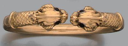 Bracelet jonc en or jaune 18k (750) ciselé...