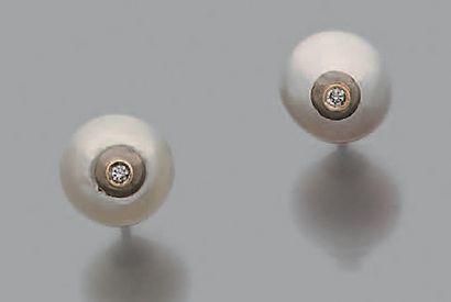 Paire de motifs d'oreilles ornés d'une perle...
