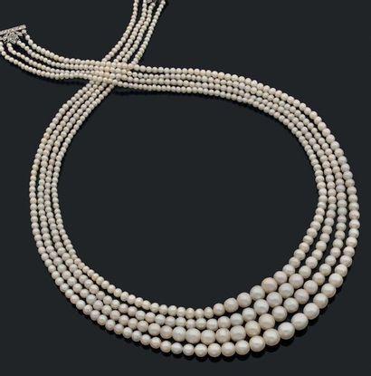 Collier composé de quatre rangs de 652 perles...