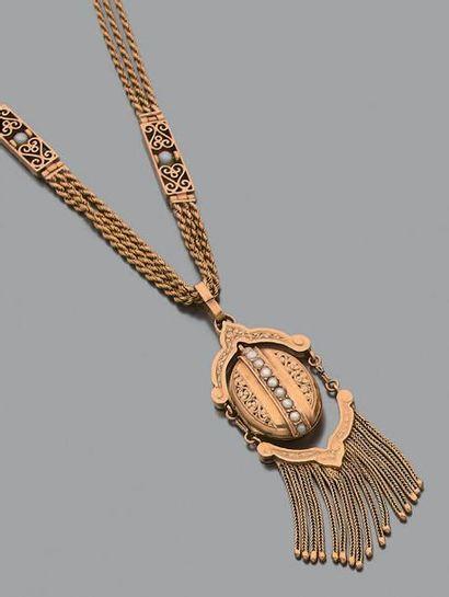Collier en or 18K (750) composé d'une chaine...