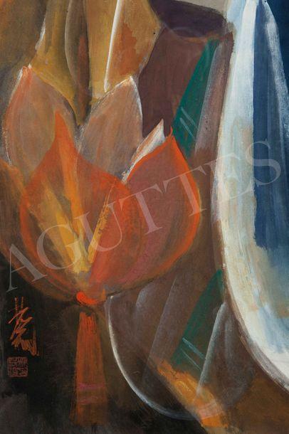 LIN Fengmian (1900-1991) 林风眠 La lanterne de Lotus Gouache sur papier, signée en bas...