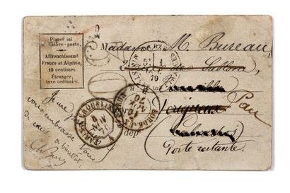 + 1ER OCTOBRE 1870 Timbre absent càd Paris...