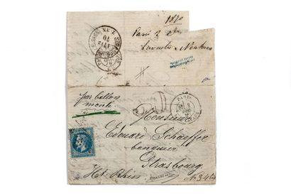 3 DECEMBRE 1870 20c Siège étoile 2 Paris R. St Lazare taxe 30 double-trait (faible)...