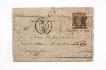 + BELGIQUE - 4 DECEMBRE 1870 30c lauré (pli) obl. Étoile PARIS (60) avec section...
