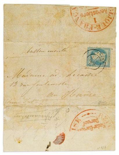 2 OCTOBRE 1870 20c lauré obl. Tours 2 OCT....