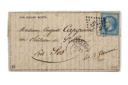 + 22 DECEMBRE 1870 20c lauré obl. GC 532 Bordeaux 25 DEC. 70 sur GA n°17 du 17-12-1870...