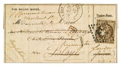 22 DECEMBRE 1870 20c Siège sur lequel a été collé un 30c Bordeaux obl. GC 532 sur...