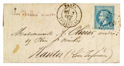 + 2 OCTOBRE 1870 20c lauré obl. PC des GC...