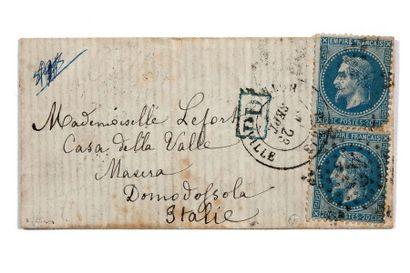 ITALIE - 23 SEPTEMBRE 1870 2 ex. 20c lauré...