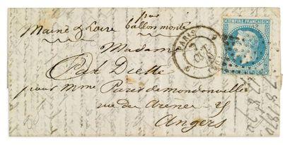 7 OCTOBRE 1870 20c lauré étoile muette càd...
