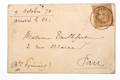 + 9 OCTOBRE 1870 10c lauré obl. càd PARIS...