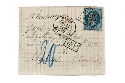 + 11 OCTOBRE 1870 20c lauré obl. GC 432 PARIS...