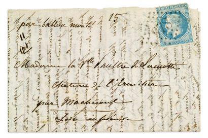 + 11 OCTOBRE 1870 20c lauré (déf) obl. GC...