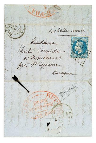 + 12 OCTOBRE 1870 20c lauré obl. losange...