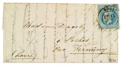 + 13 OCTOBRE 1870 20c lauré obl. càd DOUAI...