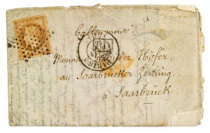 + ALLEMAGNE - 14 OCTOBRE 1870 40c lauré obl. Étoile PARIS (60) sur correspondance...