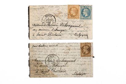 + BELGIQUE - 14 OCTOBRE 1870 10c et 20c laurés...