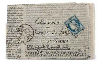 + 18 OCTOBRE 1870 20c Siège obl. Étoile PARIS...