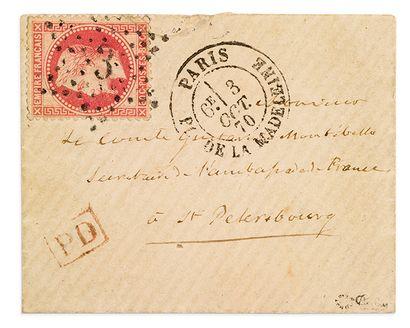 + RUSSIE - 3 OCTOBRE 1870 80c lauré obl....