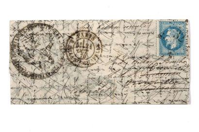 + 21 OCTOBRE 1870 20c lauré obl. Étoile 32...