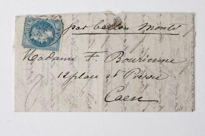 + 24 OCTOBRE 1870 20c lauré (angle déf) obl....