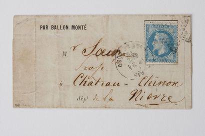 + 24 OCTOBRE 1870 20c lauré obl. Étoile Paris...