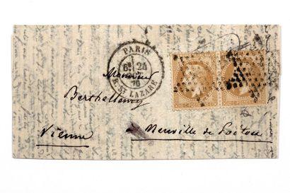 24 OCTOBRE 1870 Paire 10c lauré obl. Étoile...