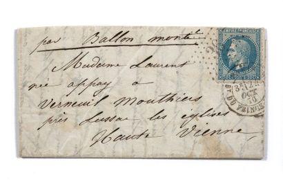 24 OCTOBRE 1870 20c lauré obl. Étoile 36...