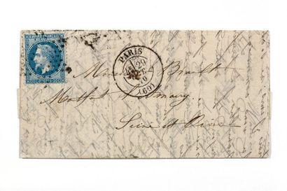 + 29 OCTOBRE 1870 20c lauré obl. Étoile PARIS...