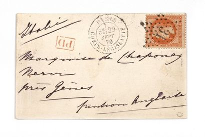 + ITALIE - 29 SEPTEMBRE 1870 40c lauré obl....