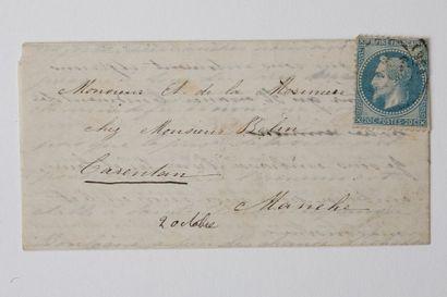 + 1ER OCTOBRE 1870 20c lauré obl. faible...