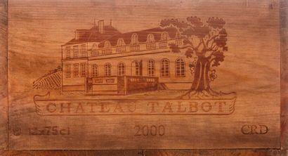 12 B CHÂTEAU TALBOT (Caisse Bois d'origine sale) GCC4 St Julien 2000