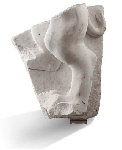 FRAGMENT D'ARCHITECTURE en marbre blanc représentant...