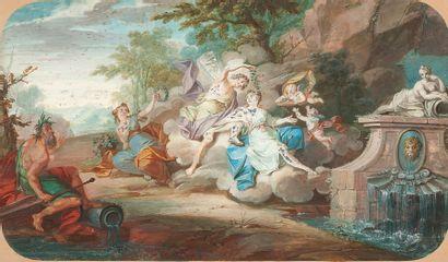 H. DELESPINE (ACTIF EN 1737) Bacchus, Vénus et Appolon Gouache 23,5 x 39,5 cm Signé...