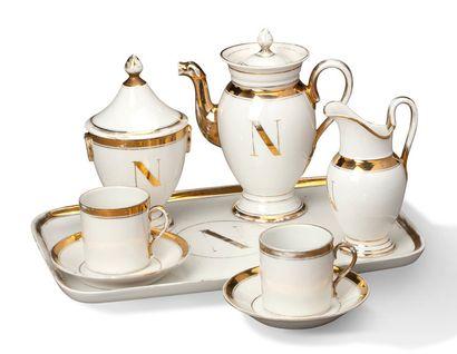 PETIT SERVICE À CAFÉ en porcelaine blanc...