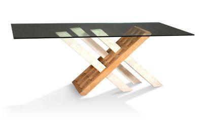IMPORTANTE TABLE à piètement composé de trois...