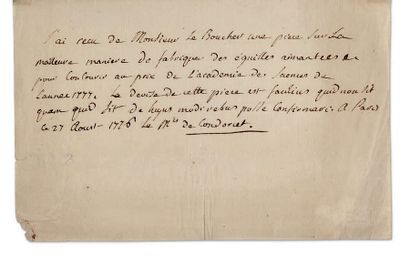 CONDORCET JOSEPH-ANTOINENICOLAS CARITAT, MARQUIS DE (1741-1794) MATHÉMATICIEN ET PHILOSOPHE.