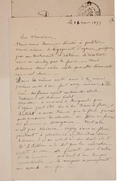 CURIE PIERRE (1859-1906) PHYSICIEN. 28 L.A.S., Paris 1898-1902, à Eugène DEMARÇAY;...