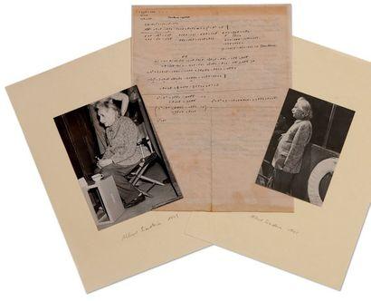 EINSTEIN ALBERT (1879-1955). MANUSCRIT autographe, [Princeton 12 octobre 1943]; 1...