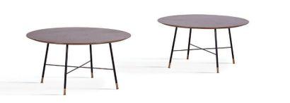 TRAVAIL ITALIEN Suite de 2 tables Bois, métal, laiton. 39 x 76 cm. Circa 1980