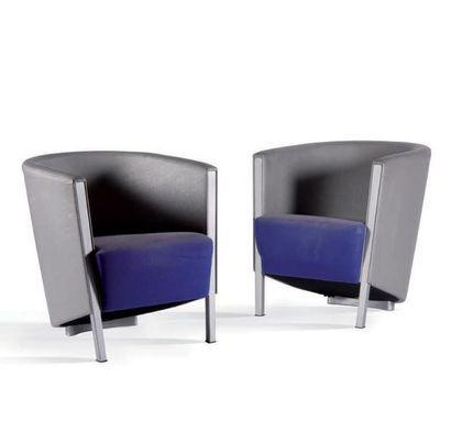ANTONIO CITTERIO (1950) Paire de fauteuils dits Rich Tissu, aluminium 70 x 64.5 x...