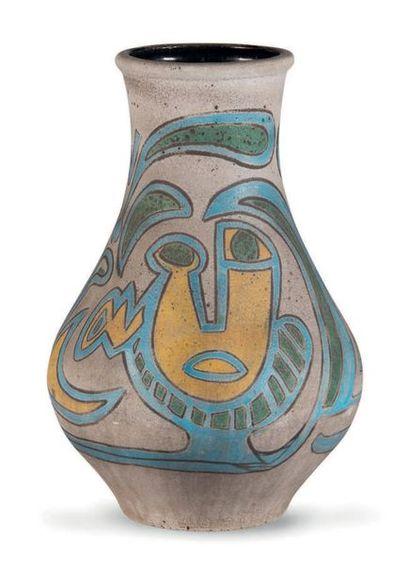 ACCOLAY Important vase Céramique Signée 67 x 40 cm. Circa 1960