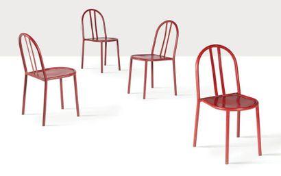 Robert MALLET-STEVENS (1886-1945) Suite de 4 chaises Métal, bois 82 x 52 x 40 cm....
