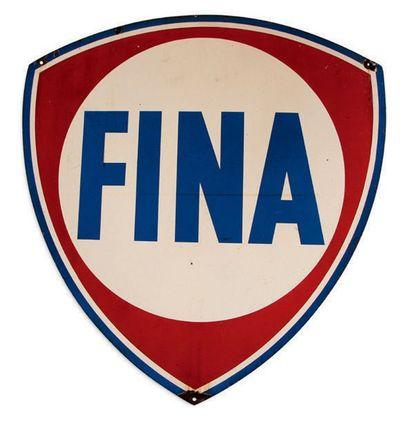 FINA Plaque en tôle émaillée double face Bon état, éclats Dim: 137 X 130 cm